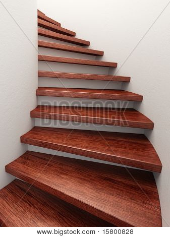 spiral wooden staircase, 3d rendering
