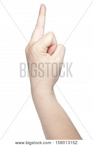 Hand On A White Background, Ejected Middle Finger