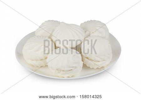 Delicious White Vanilla Marshmallow On Plate On White