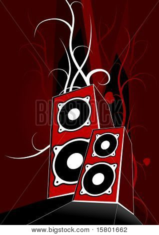 Two red loudspeakers on dark red background. Vector