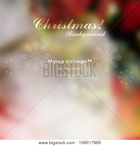Blurred defocus beautiful Christmas background, transparent snowflakes elements, eps10 vector