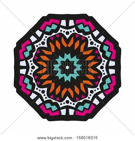 Circular ornament. Oriental pattern illustration. Flower circular background. Beautiful ethnic, oriental background. Stylized lace mandala. Beautiful big bud in bright colors. Vintage.