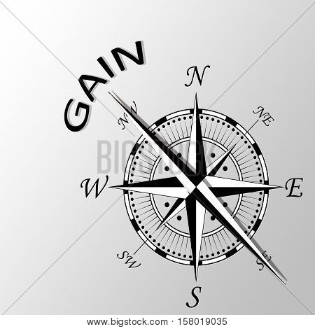 Illustration of gain word written aside compass