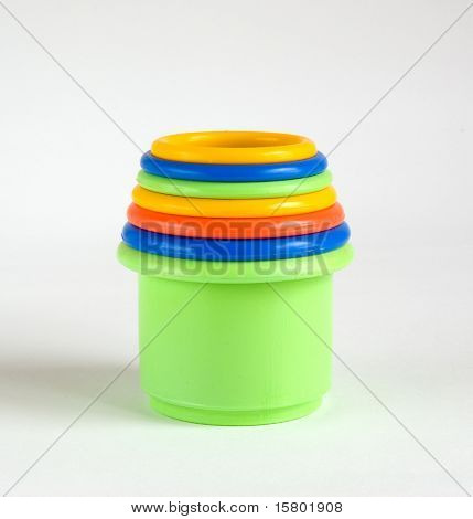 Colorful plastic containers in each other for children.