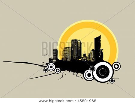 City in the sunrise. Vector
