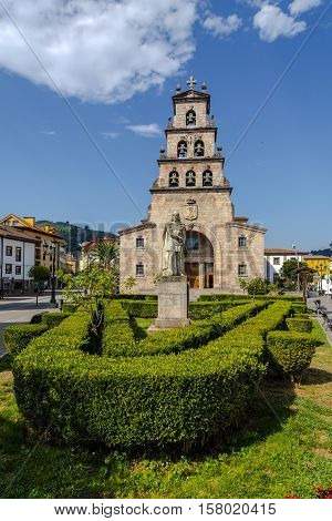 Church of the Assumption of Cangas de Onis Asturias Spain and Statue of Don Pelayo first king of Spain.