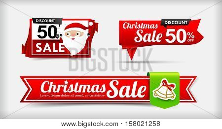 025 Collection of Merry Christmas sale web tag banner promotion sale discount style vector illustration eps10
