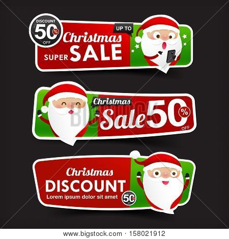 028 Collection of Christmas Sale red and green web tag banner promotion sale discount style with Christmas Santa claus element vector illustration eps 10