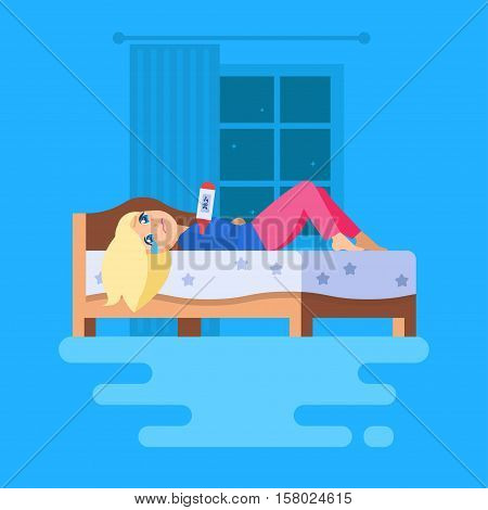 A girl lying in bed with a thermometer and crying. The girl trying to cause self-pity. Her hands folded across her stomach. Isolated vector scene.