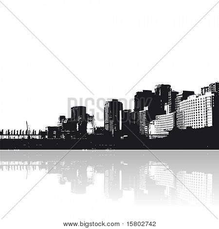 City with reflection in the water. Vector art