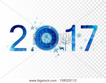 Blue winter composition with number for any background. Merry Christmas and New Year 2017 with holiday clock, snowflakes and decorative design elements.