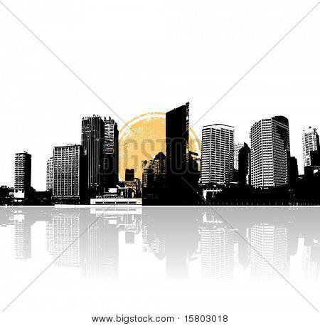 Stadt und Meer mit Sonne. Vektorgrafiken.