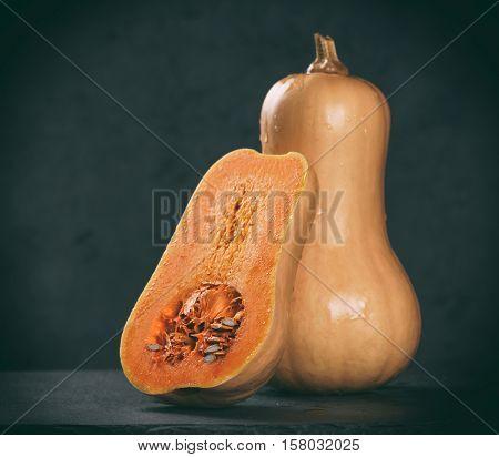 Butternut Squash. Pumpkin And A Cut One