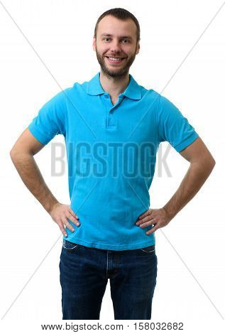 Bearded Guy Wearing Blue Polo Shirt