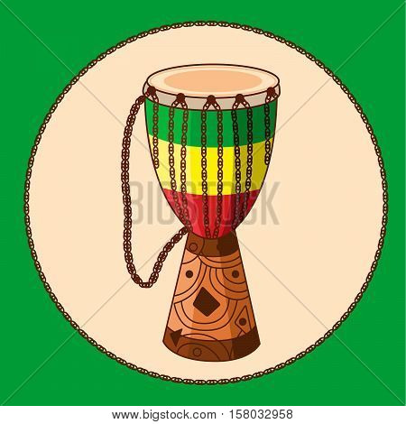 African drum djembe with ornament and ropes. Rastafarian colors. Cartoon ethnic musical instrument. Vector EPS10 illustration.
