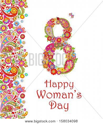 Greeting decorative card with flowers number 8 for International Women's day