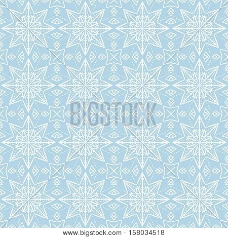 Blue christmas background with seamless pattern. Ideal for printing onto fabric and paper or scrap booking. Vector illustration