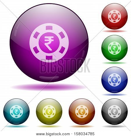 Indian Rupee casino chip color glass sphere buttons with sadows.