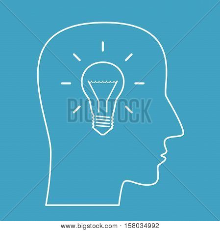 Head Outline With Lightbulb