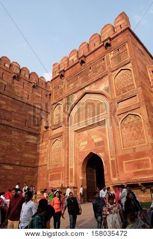 AGRA, INDIA - FEBRUARY 14 : Amar Singh Gate of Agra Fort, UNESCO World heritage site in Agra. Uttar Pradesh, India on February, 14, 2016.