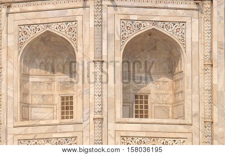 AGRA, INDIA - FEBRUARY 14 : Taj Mahal (Crown of Palaces), an ivory-white marble mausoleum on the south bank of the Yamuna river in Agra, Uttar Pradesh, India on February 14, 2016.
