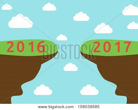 Onset 2017 year on blue sky background. New year happy and christmas concept. Flat design. Vector illustration. EPS 8 no transparency