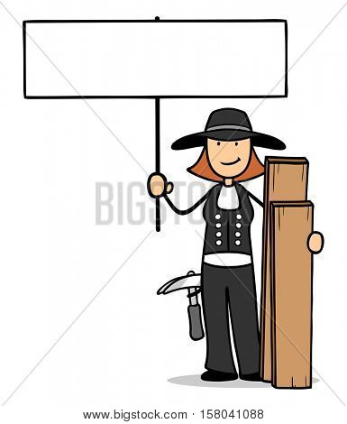 Cartoon woman as carpenter holding blank sign