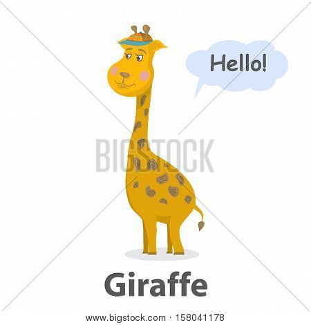Giraffe vector illustration.Cute cartoon Giraffe wild mammal.Safari animal.Zoo animal.Savanna animal with long neck.Giraffe with speech bubble.From the series what the say animals