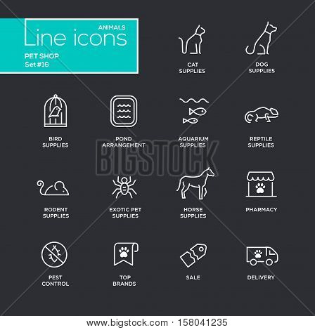 Pet Shop - modern vector simple thin line design icons and pictograms set - black background. Cat, dog, bird, aquarium, horse, pond, reptile, rodent, exotic, pharmacy, brands pest control delivery