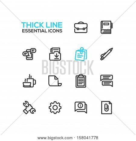 Business, Office - modern vector plain simple thick line design icons and pictograms set. Briefcase, notebook, message, folder, memo, pen, coffee, clipboard, document, speech bubble, work tool cog information attachment