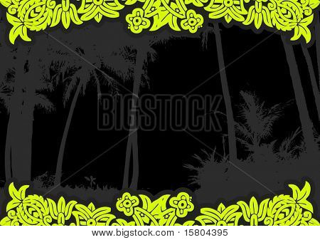 Palm trees on the beach with flowers. Vector