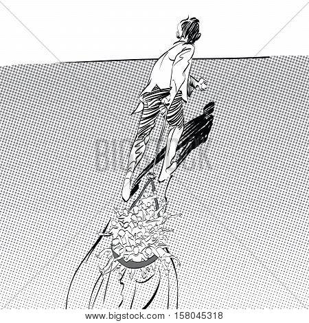 Businessman leader pulls the team, pop art retro vector illustration, imitation of raster halftone