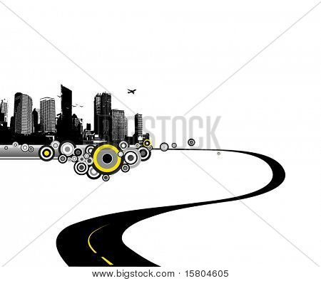 Road to city. Vector art