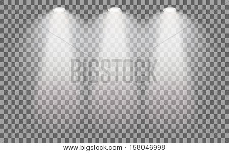 Scene illumination on transparent background. Set of stage illuminated spotlight. Cold light effect. Vector illustration.