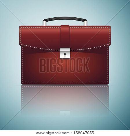Briefcase red business icon isolated on blue background. Vector Illustration