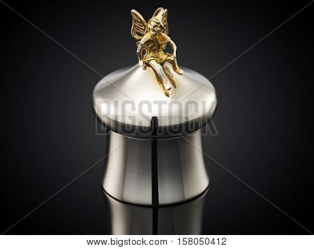Beautiful Silver Tooth Box On Black Background
