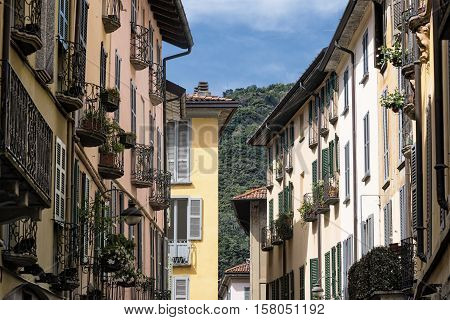 Como (Lombardy Italy): old typical street near the medieval cathedral