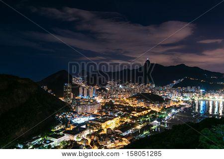 Night View of Botafogo in Rio de Janeiro from Urca Mountain
