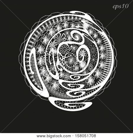 White abstract graphic a flower bed Figure ornament author design decoration henna painting on the body skin logo circle curl flower petal point openwork pattern eps10 Stock vector illustration