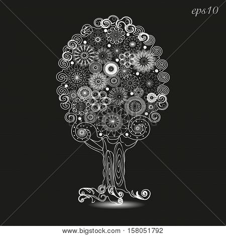 White tree ornament graphics Abstract design author krone flowers roots curl handmade openwork pattern plant svol line white background black stock eps10 vector illustration