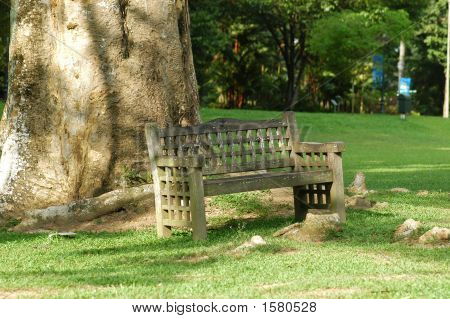 A Small Wooden Bench In The Parks
