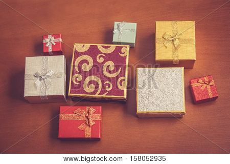 Top view of various gift boxes. Selective focus. Vintage style