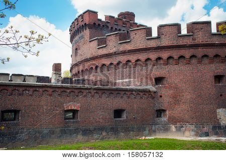 Tower of Der Wrangel. Part of the german defensive fortifications in the Konigsberg (1843-1859). After Second World War Konigsberg was called Kaliningrad and became part of Russia.