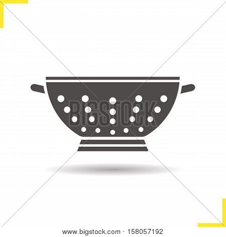 Colander icon. Drop shadow drainer silhouette symbol. Negative space. Vector isolated illustration