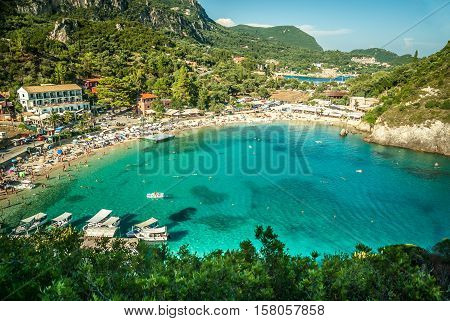 Beautiful bay of Paleokastritsa, Corfu island, Greece.