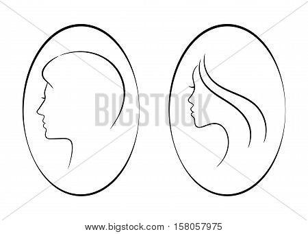 Female and male contour signs. Vector design for any decoration. Creative concept.