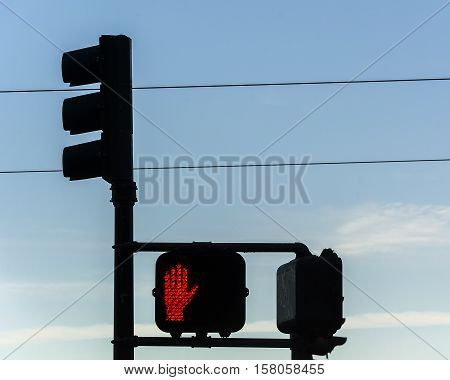 traffic lights with red stop signal for pedestrian
