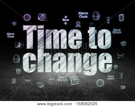 Time concept: Glowing text Time to Change,  Hand Drawing Time Icons in grunge dark room with Dirty Floor, black background