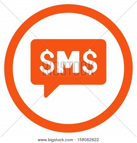 SMS Message vector rounded icon. Image style is a flat icon symbol inside a circle, orange color, white background.