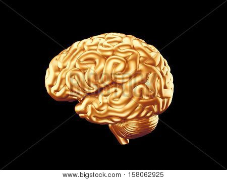 3d Illustration of human brain made of gold isolated
